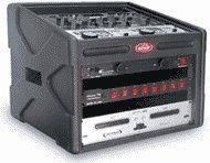 1SKB-106DJ DJ Station: Roto-mold shell, 10U slant top rack, 6U front rack, wood reinforced soft nylon cover