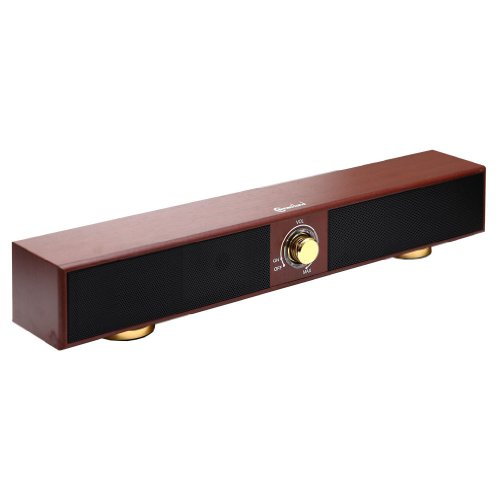 Syba CL-SPK20150 17-Inch USB Powered Sound Bar Speaker, Dark Walnut Style