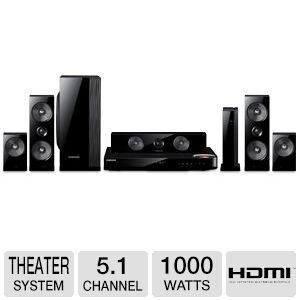 Samsung 5.1 Channel 1000 Watts wireless surround sound 3D Blu-ray Home Theater System, With Dual 2-Way, Full-Range Wireless Front & Surround Speakers & Passive Subwoofer, 2D And 3D In Full HD 1080p, Built-in WiFi & Bluetooth, Full Web Browser with Dual core processor, Smart Hub, Samsung Apps, AllShare & Anynet+, Dual HDMI Inputs, BD Wise Web 3.0, FM Tuner, CD Ripping, Black Finish