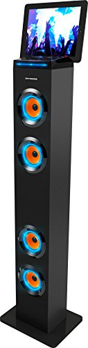 AR+SOUND AR1004BK Bluetooth LED Lights Tall Tower Stereo Speaker System with Built-In Radio, Docking Station and Remote Control (Black)