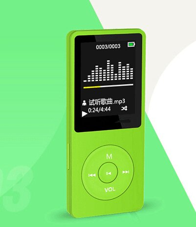 "8GB 70 Hours Continuous Playback 1.8"" MP3 Music Player (Micro SD Card supports to 64GB) ,Color Green & Trial Sale Version"