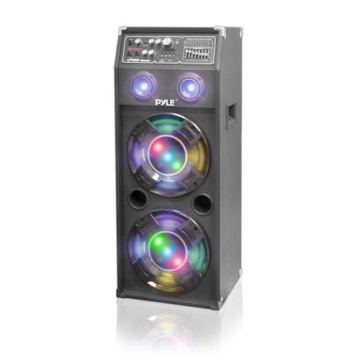 Pyle PSUFM1045A Disco Jam 1000 Watt 2-Way Speaker System with Flashing DJ Lights, SD Reader, FM Radio, 3.5mm AUX Input