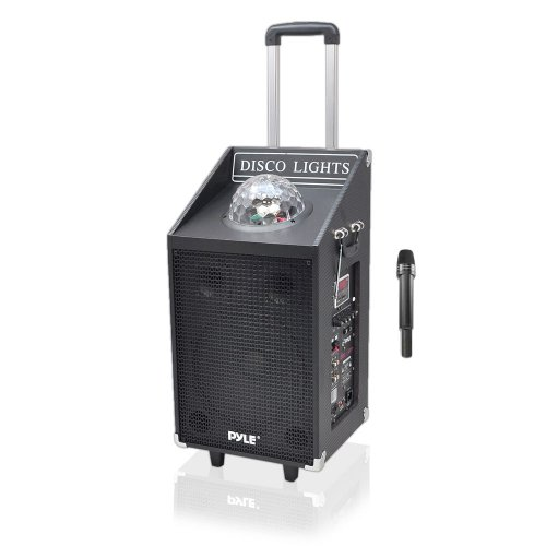 Pyle PWMA1594UFM 600 Watt Bluetooth Speaker System with USB/SD Readers, FM Radio, AUX Input, Wireless Mic and Flashing Lights