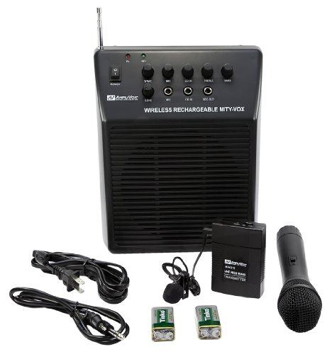 """AMPLIVOX SW212 MITY-VOX AC / DC + """"D"""" Battery Powered Portable Public Address (PA SYSTEM) w/ Wireless Lapel + Handheld Microphones"""