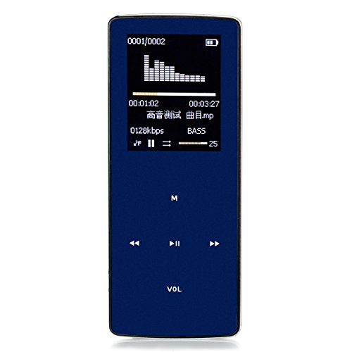 "ONN W6 Professional Bluetooth Mp3 Player Mp4 Metal Body 8gb/fm/1.8"" TFT Screen/e-book/Voice recorder/max 32gb Tf Card Supported,60 HOURS Continuous Playback,Dark blue"