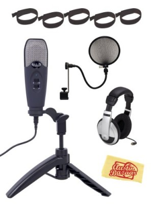 CAD U3 Limited Edition USB Studio Recording Microphone Bundle with Headphones, Velcro Cable Ties, Pop Filter, and Polishing Cloth - Midnight Blue
