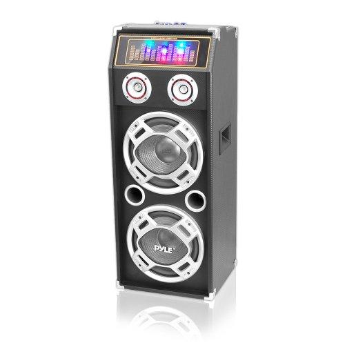Pyle PSUFM1030P 1000 Watt Passive DJ Speaker System with 10-Inch Subwoofers, Flashing DJ Lights