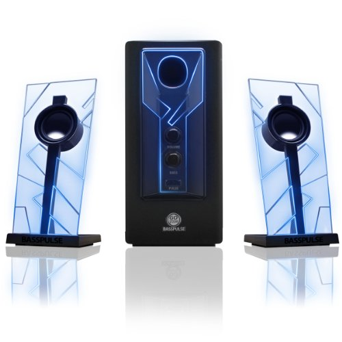 GOgroove BassPULSE 2.1 Computer Stereo Speaker System with Blue LED Glow Lights & Powered Subwoofer - Works with PC , Apple MAC , ASUS , Acer , Alienware , Cybertron , Dell , HP , Lenovo Desktops , Laptops & Gaming Computers