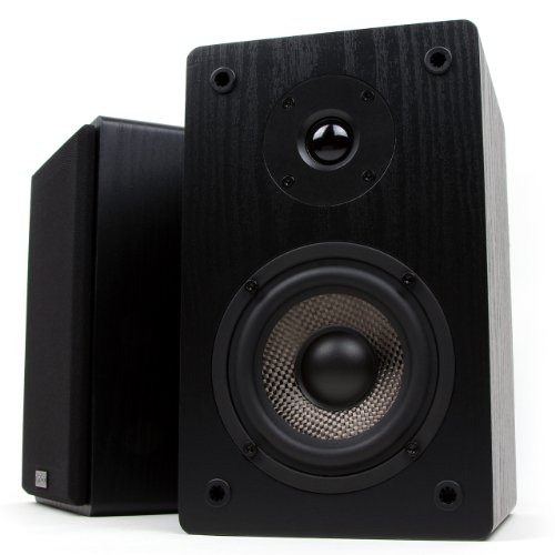 Micca MB42 Bookshelf Speakers with 4-Inch Carbon Fiber Woofer and Silk Dome Tweeter, Black