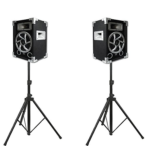 Acoustic Audio GX-450 PA Karaoke DJ Speakers 1400 Watts 2 Way Pair New with Stands GX-450-PK2