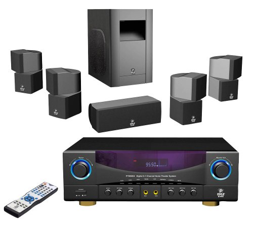 Pyle Home PT598AS 5.1-Channel 350-Watt Home Theater Receiver Surround Sound Package with Subwoofer/Center and 4 Satellite Speakers