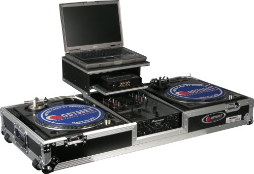 Odyssey FZGSBM10W Flight Zone Glide Style Ata Dj Coffin With Wheels For A 10 Mixer And Two Turntables In Battle Position