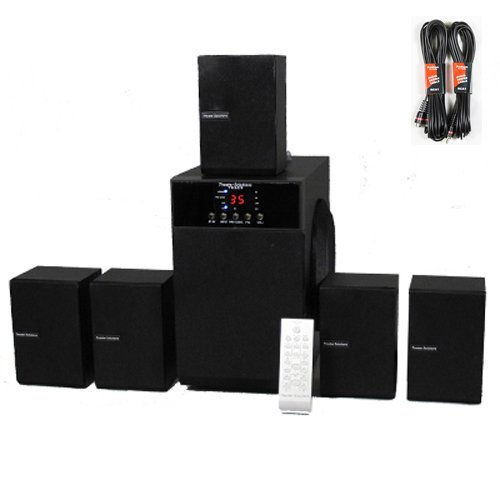 Theater Solutions TS509 Home Theater 5.1 Speaker Surround System with Two 25' Extension Cables TS509-2