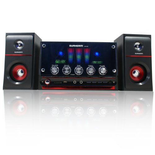 DR-S30 DURHERM 2.1 Channel Glass Surface LED Equalizer USB SD MP3 Audio Inputs Home Audio Woofer Speaker System w/ Wireless Remote