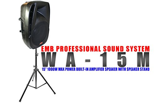 "EMB - WA-15M 15"" 1000W MAX POWER SPEAKER BUILT-IN AMPLIFIER/SD/BLUETOOTH/SD/TF SLOT/USB/MP3 PLAYER MICROPHONE INCLUDED - FOR HOME DJ PARTY CLUB SHOW KARAOKE ENTERTAINMENT"