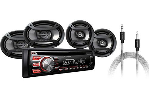 Pioneer Car Stereo Audio Combo Pack 4 Speakers + AUX Cable AM FM CD MP3 PLAYER INPUT 200 WATTS DXT-X2769UI00 TRUCK SUV BUS