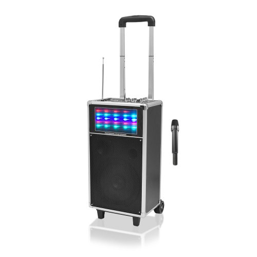 Pyle PWMA850UFM 400 Watt Speaker System with USB/SD Readers, FM Radio, AUX and Mic Inputs, Wireless Mic and Flashing Lights