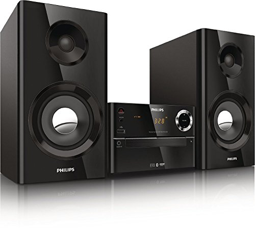 Philips BTM2180/37-BLK Digital Micro Music System with Wireless Music Streaming via Bluetooth (iPhone, iPad, iPod, Android, and More), Two-Way Bass Reflex, Dome Tweeter, Audio-in, Plays MP3-CD and CD-R/RW (Black)
