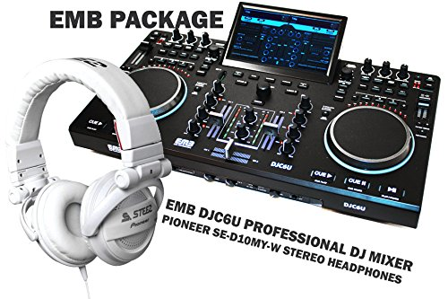 PACKAGE - PIONEER SE-D10MT-W White Headphones + EMB DJC6U Professional Controller DJ MIXER 2 Jog Wheels Scratching + Controlling With TFT Display - Virtual DJ Compatible / Virtual DJ Disk included - For Home Entertainment | DJ Performance | Club | Bar | Pub | Studio Recorder | Stage | Show
