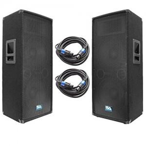 """Seismic Audio - SA-122T-PKG22 - Pair of Dual 12"""" DJ Speakers with two 35' Speaker Cables - Dual 12 Inch DJ Loudspeakers Club Speakers"""