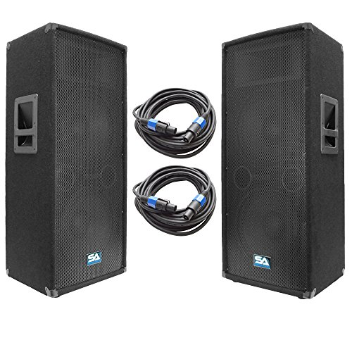 "Seismic Audio - SA-122T-PKG22 - Pair of Dual 12"" DJ Speakers with two 35' Speaker Cables - Dual 12 Inch DJ Loudspeakers Club Speakers"