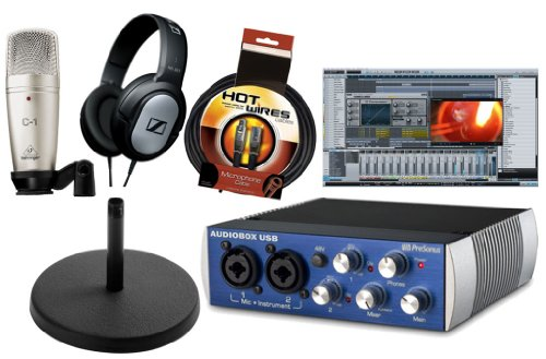 Presonus Audiobox USB DAW Recording Bundle with Studio One Artist Recording Software, Behringer C1 Large Diaphragm Condenser Microphone, Sennheiser HD201 Headphone, Desk Stand & 10ft XLR Cable