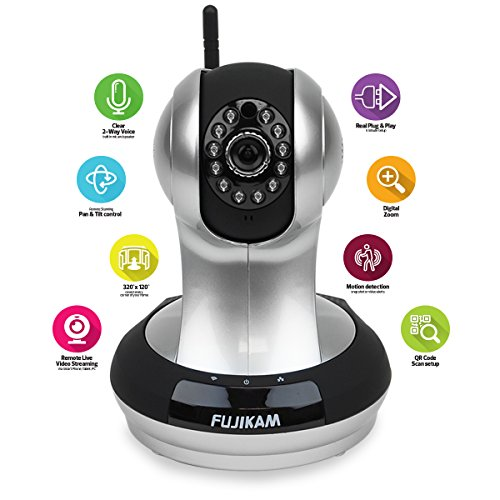 Fujikam FI-361 HD, cloud IP/Network ,Wireless, Video Monitoring, Surveillance, security camera,plug/play, Pan/Tilt with Two-Way Audio and Night Vision,