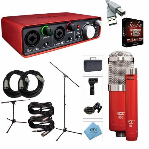Focusrite Scarlett 2i2 Interface Recording Package - MXL 550/551r, (2) Mic Stand, (2) XLR Cable Bundle
