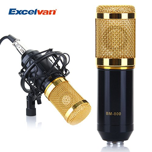 Excelvan® BM-800 Condenser Microphone Cardioid Pro Audio Studio Vocal Recording Mic with Shock Mount (Black)