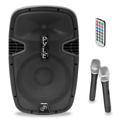 Pyle PPHP129WMU 12-Inch 1,000-Watt Bluetooth Music Streaming Portable Loudspeaker System, Built-in Rechargeable Battery, 2 Wireless Mics, FM Radio, LCD Readout, USB & SD Card Readers