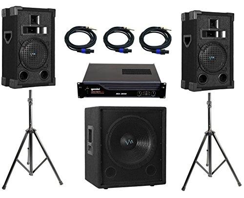 "Full VM Audio DJ System Includes VAS38P DJ Speakers + 12"" DJ Sub + Amp + Cables"