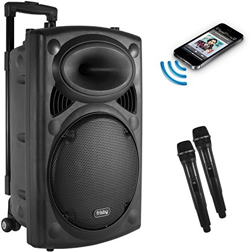 Frisby FS-4050P Portable Rechargeable Bluetooth Karaoke Party Machine PA Speaker System w/ Telescoping Handle & Wheels & 2 Wireless Microphones Echo & AM/FM Radio & USB & SD Slots
