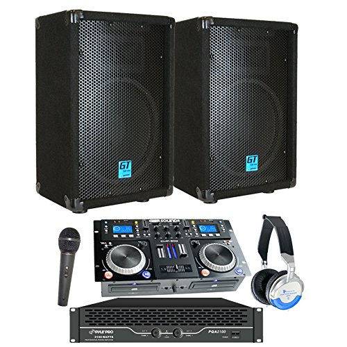 """Starter Dj System - 2100 WATTS - Connect your Laptop, iPod, USB, MP3's or Cd's! 10"""" Speakers, Amp, Mixer/Cd Player, Mic, Headphones."""