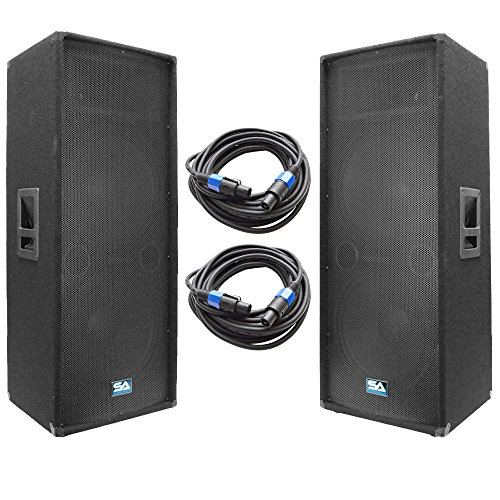 "Seismic Audio - SA-155T-PKG22 - Pair of Dual 15"" DJ Speakers with two 35' Speaker Cables - Dual 15 Inch DJ Loudspeakers Club Speakers"