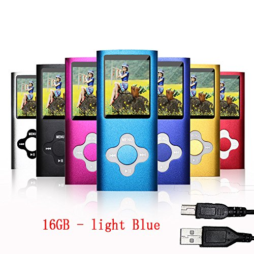 Rshop light Blue Colour 16GB Slim Classic MP3/MP4 Player Music 1.7'' Lcd Screen Mp4 Music/Audio/Digital/Media Player With Accessories/Support Video Movie Ebook Photo View Games