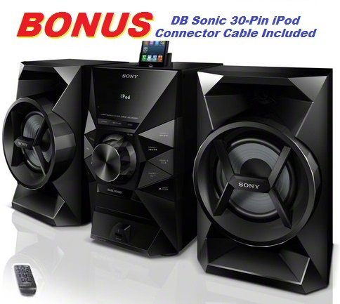 Sony 120 Watt Hi-Fi Stereo Sound System with MP3 CD Player, FM Radio, 20 Preset Stations, Remote Control, Digital Time Display, Alarm Clock, Sleep Timer, Child Lock, 8 Band Equalizer, Bass Boost, 2-way Bass Reflex Speakers, Lightning Dock & USB Input to Play & Charge all iPods, iPhones, iPads & Other Audio Devices or Record to Flash Drives *BONUS* DB Sonic iPod Connector Cable Included
