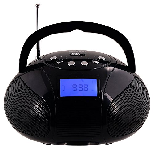 August SE20B - Mini Bluetooth MP3 Stereo System - Portable Radio with Powerful Bluetooth Speaker- FM Alarm Clock Radio with Card reader, USB and AUX in (Micro USB) - 2 x 3W Stereo Hi-Fi Speakers and Rechargeable Battery