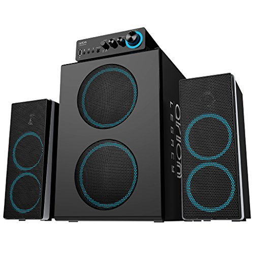 Arion Legacy 3 Piece Bone Crushing Bass Speaker System 166 Watts with Massive Dual Subwoofers, Dedicated Tweeters, Woofers, and Control Box Connects PC, TV, MP3, Headphone, Microphone and Charges USB devices (Deep Sonar 750)