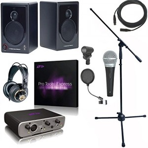Avid Fast Track SOLO Pro Tools Cable Headphones Monitors Stand Pop Filter Bundle