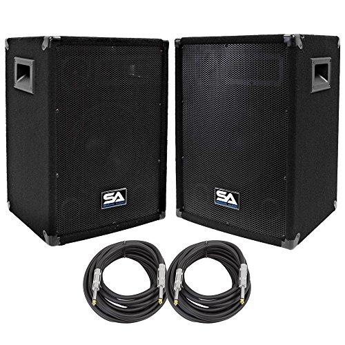 """Seismic Audio - SA-10-PKG31 - Pair of 10"""" DJ Speakers with two 20' Speaker Cables - 10 Inch DJ Loudspeakers Club Speakers"""