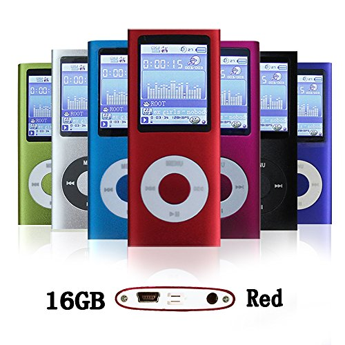 G.G.Martinsen 16 GB Mini Usb Port Slim Small Multi-lingual Selection 1.78 LCD Portable Mp3/Mp4, Mp3Player , Mp4Player , Video Player , Music Player , Media Player , Video player ,Audio player With Photo Viewer , E-book Reader , Voice Recorder ,Games & Movie-Red
