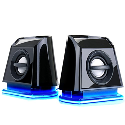 GOgroove BassPULSE 2MX 2.0 USB Multimedia Computer Speakers with Blue LED Lights , Dual Drivers & Passive Subwoofer - Works with PC , Apple MAC , Dell , HP , CybertronPC Desktops , Laptops & Gaming Computers