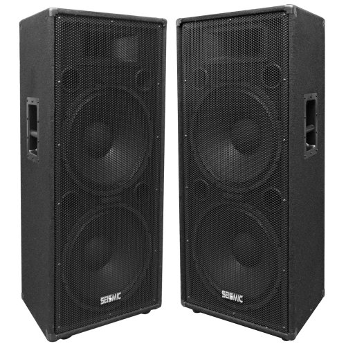 Seismic Audio FL-155PC Pair of Dual Premium 15-Inch PA/DJ Speaker Cabinets with Titanium Horns 800-Watts RMS per Cabinet