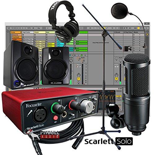 Focusrite Scarlett Solo USB 2x2 Home Recording Bundle w/ AV30 Monitors AT2020