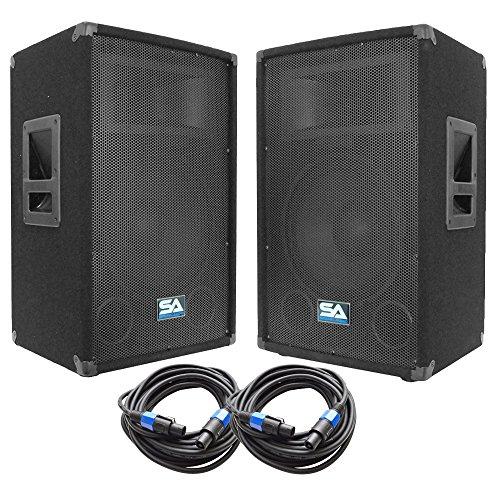 """Seismic Audio - SA-12T-PKG22 - Pair of 12"""" DJ Speakers with two 35' Speaker Cables - 12 Inch DJ Loudspeakers Club Speakers"""