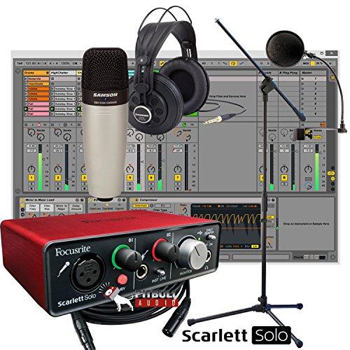 Focusrite Scarlett Solo USB + Samson C01 Mic + Samson SR850 Headphones + Mic Stand + Home Recording Studio Bundle