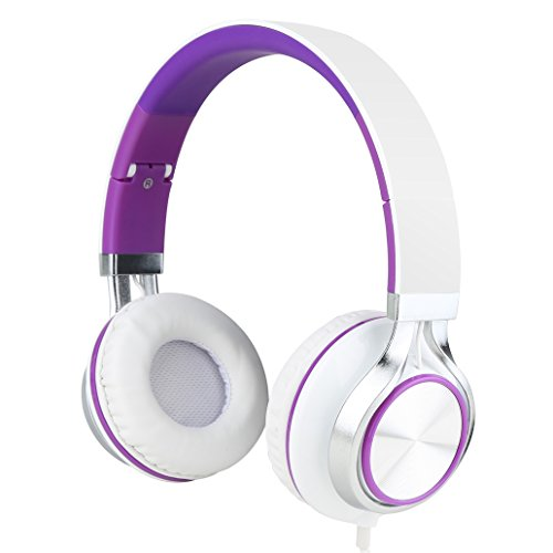 Sound Intone Ms200 Stereo Headsets Strong Low Bass Headphones Earbuds for Smartphones Mp3/4 Laptop Computers Tablet Ipad Macbook Folding Gaming Earphones (White/purple)