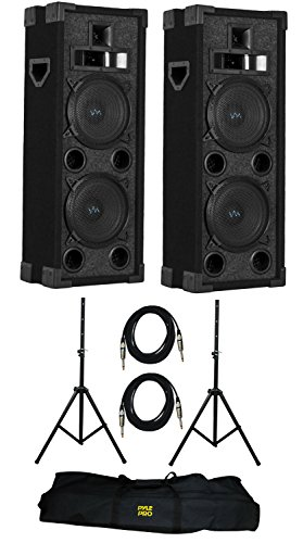 "VM Audio VAS4210P 2200W 4-Way Dual 10"" DJ Loud Speakers + Cables & Tripod Poles"