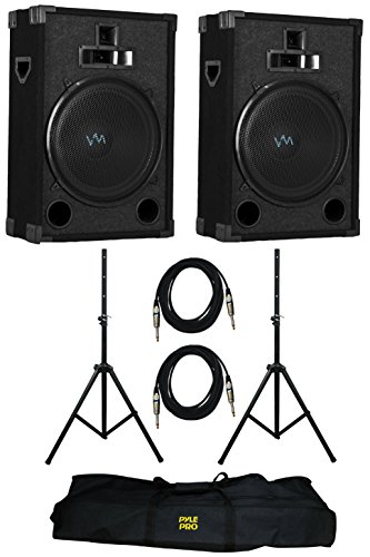 "2) VM Audio VAS315P 1200 Watt 3 Way 15"" DJ Passive Loud Speaker System (Pair)"