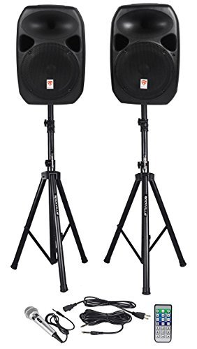 "Rockville Power GIG RPG-122K All In One DJ/PA Package (2) 12"" DJ/PA Speakers 1000 Watts Peak Power/250 Watts RMS with Built in Bluetooth, USB/SD Player, FM Tuner, Digital MP3 Recorder, Speaker Stands and a Wired Microphone"